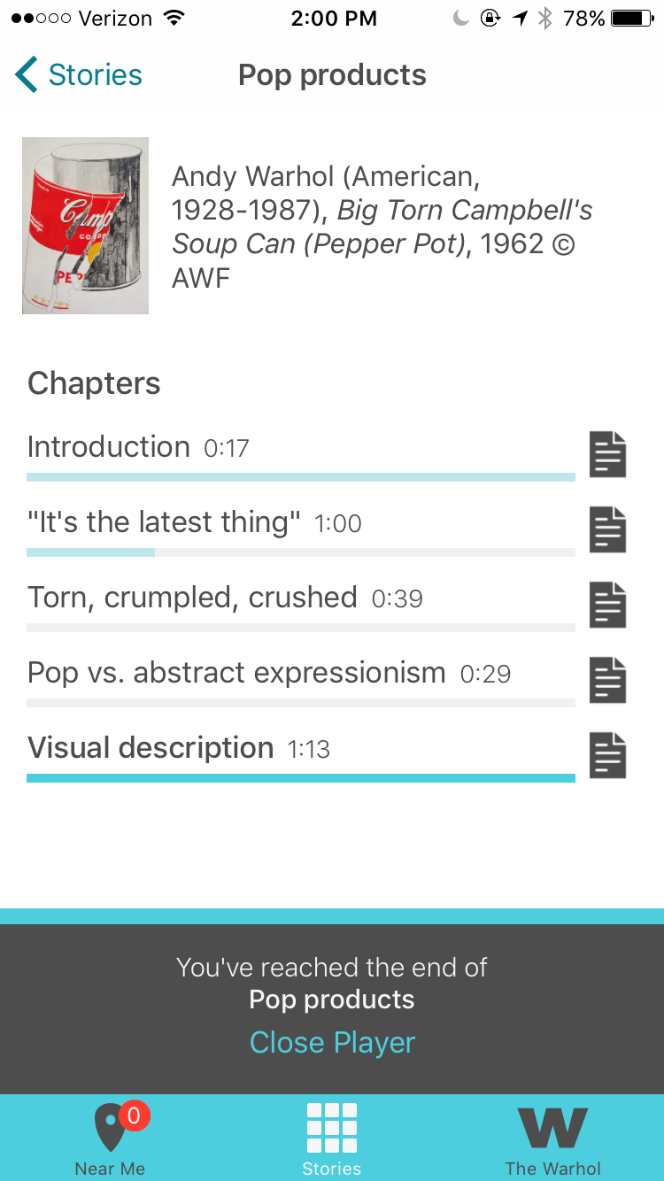 Screen shot of the final Out Loud learning player design, in which the user has listened to all of the chapters and can now choose to close the audio player