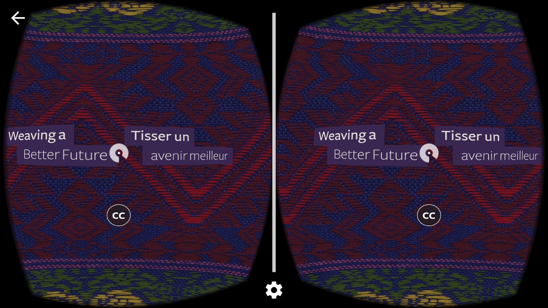 Stereoscopic view of user interface with cursor in view.