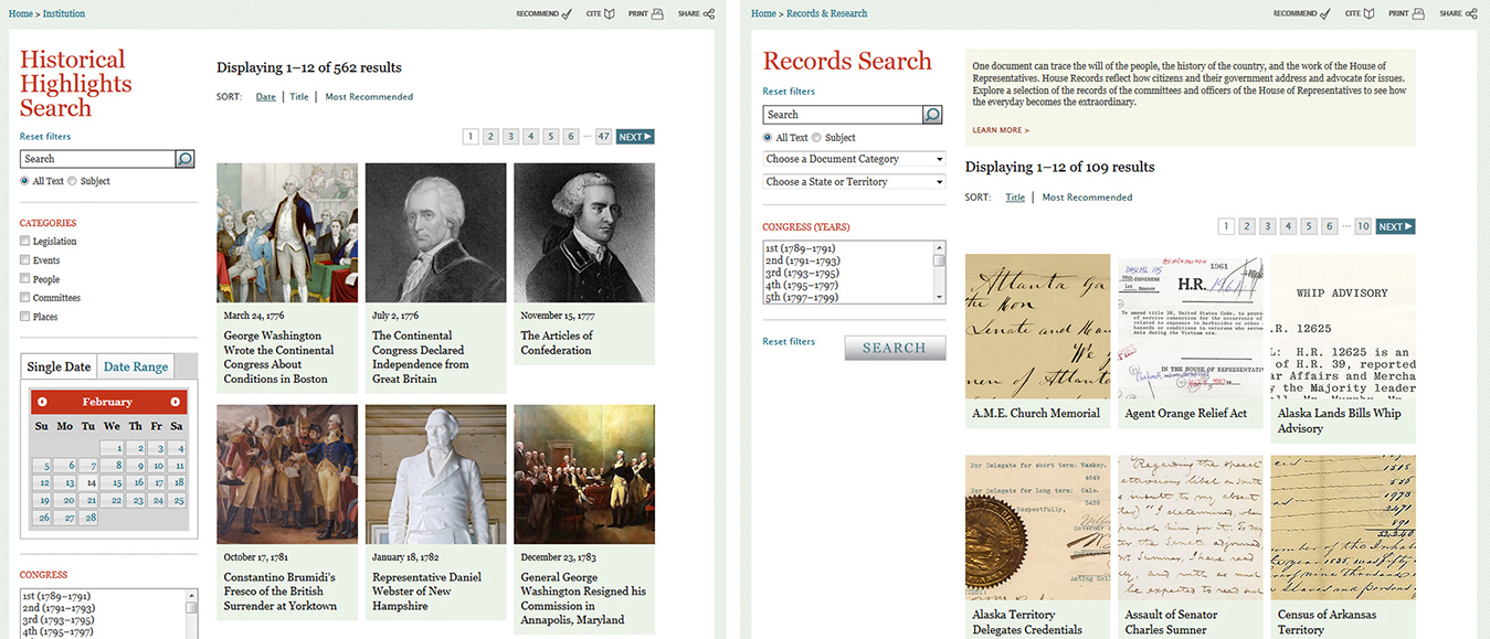 Fig. 1: Side by side comparison of Historical Highlights (left) and Records Search (right)