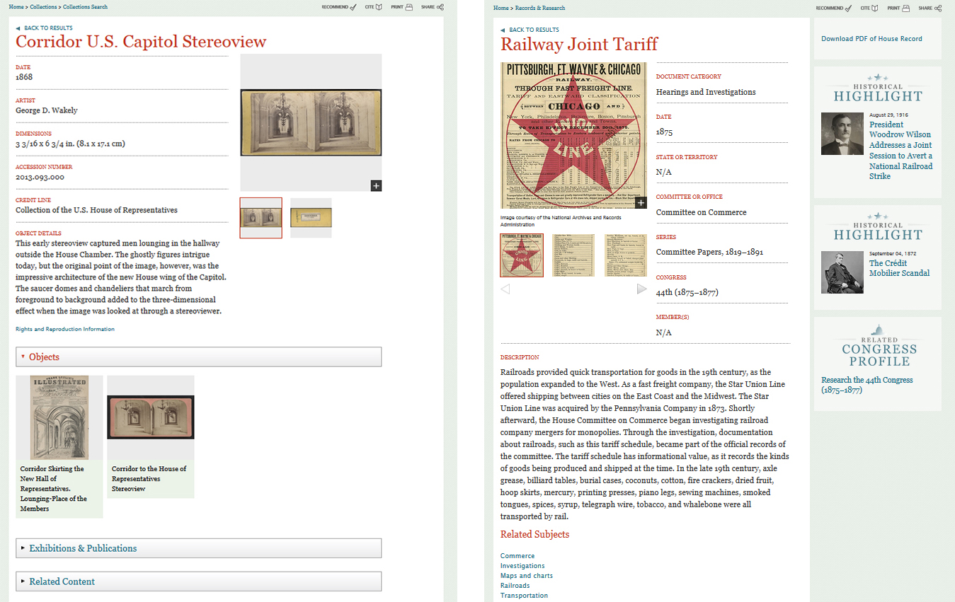 Fig. 2: Side by side comparison of Collections Search detail page (left) and Records Search detail page (right)