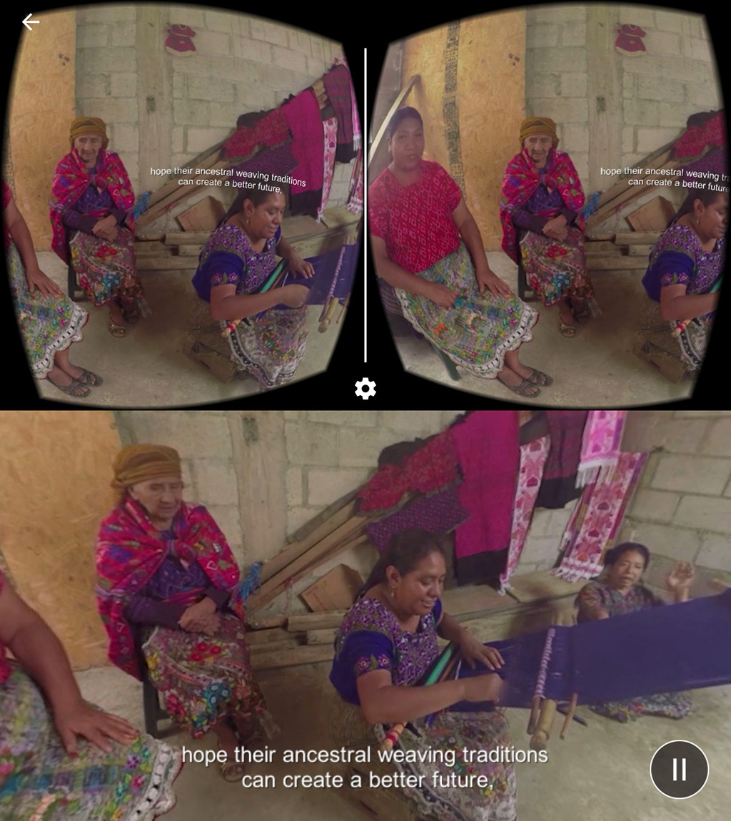 Screenshot of interface showing Guatemalan women weaving.