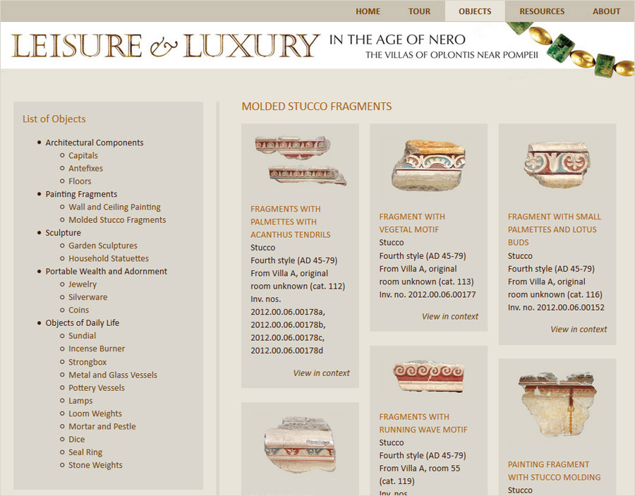 Sample object page: Molded Stucco Fragments from Villa A