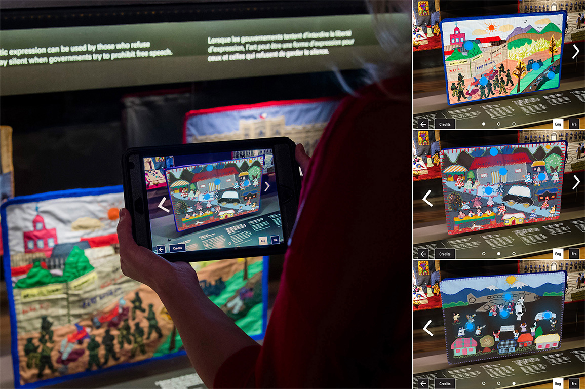 A visitor holding a small tablet pointed at a glass case along with screenshots from the app.